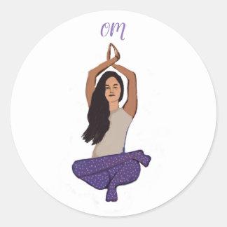 Yoga OM Classic Round Sticker, Glossy Classic Round Sticker