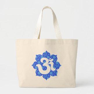 Yoga Om in Lotus dark blue Large Tote Bag