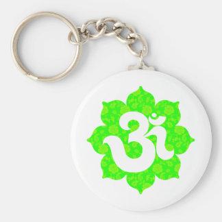 Yoga Om in Lotus green Basic Round Button Keychain