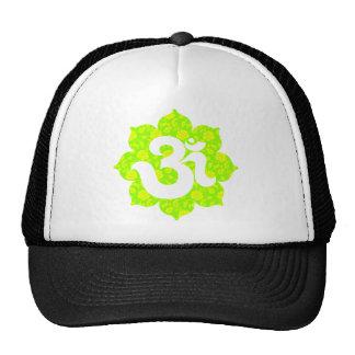 Yoga Om in Lotus green yellow Hats