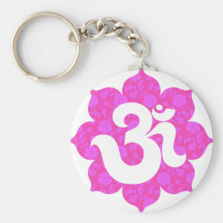 Yoga Om in Lotus pink Basic Round Button Keychain