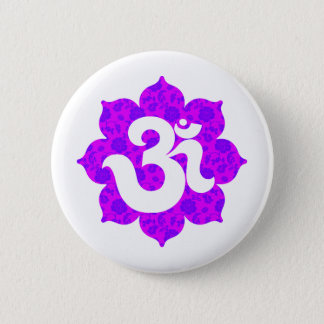 Yoga Om in Lotus purple pink 2 Inch Round Button