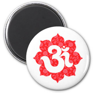 Yoga Om in Lotus Red 2 Inch Round Magnet