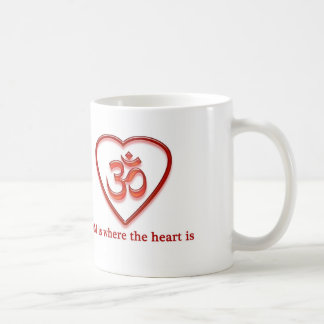 "Yoga Om mug  ""Om is where the heart is"" humor"