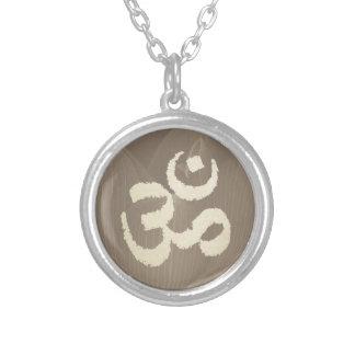 Yoga Om Sign Vintage Lotus Flower Background Round Pendant Necklace