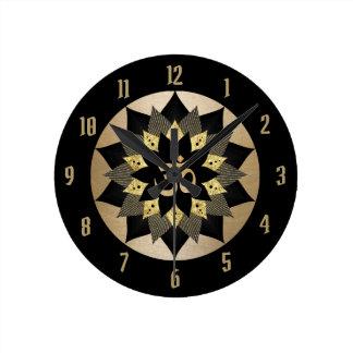 Yoga Om Symbol Black & Gold Lotus Flower Mandala Round Clock