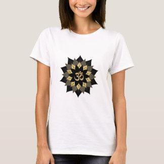 Yoga Om Symbol Black & Gold Lotus Flower Mandala T-Shirt