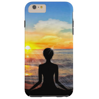 Yoga on the Beach at Sunset Tough iPhone 6 Plus Case