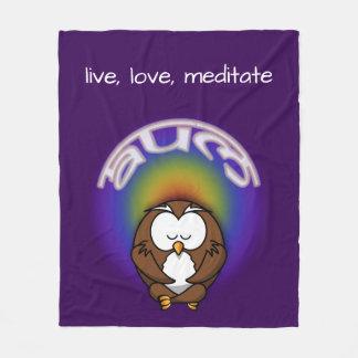 yoga owl fleece blanket