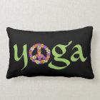 Yoga Peace Sign Floral on Black Lumbar Pillow