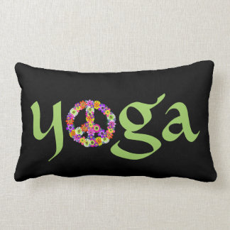 Yoga Peace Sign Floral on Black Lumbar Pillow