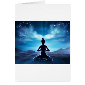 Yoga Pilates Pose Silhouette Woman Concept Card