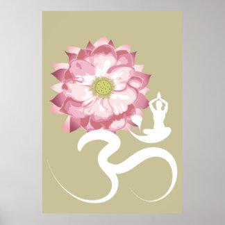 Yoga & Pink Lotus Flower White Om Spiritual Poster