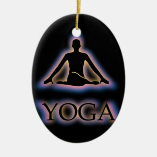 Yoga pose glowing in dark- Cow face gomukhasana Ceramic Ornament