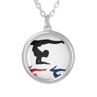Yoga pose round pendant necklace