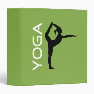 Yoga Pose Silhouette on Green Background 3 Ring Binder