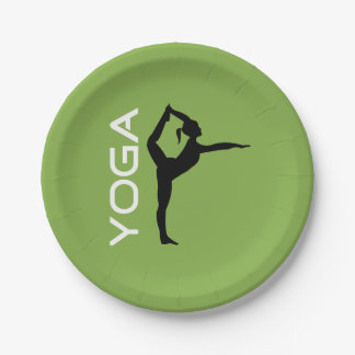 Yoga Pose Silhouette on Green Background 7 Inch Paper Plate