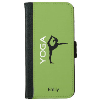 Yoga Pose Silhouette on Green Background iPhone 6 Wallet Case