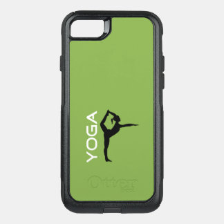 Yoga Pose Silhouette on Green Background OtterBox Commuter iPhone 8/7 Case