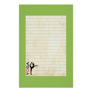 Yoga Pose Silhouette on Green Background Stationery