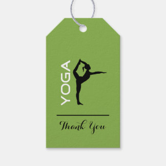 Yoga Pose Silhouette on Green Background Thank You Gift Tags