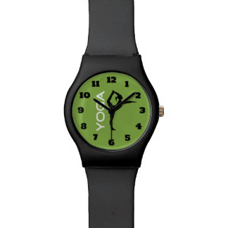 Yoga Pose Silhouette on Green Background Wristwatch