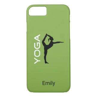 Yoga Pose Silhouette on Green Personalized iPhone 7 Case