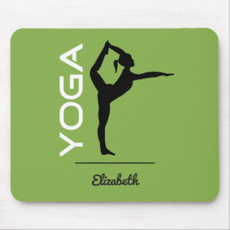Yoga Pose Silhouette on Green Personalized Mouse Pad