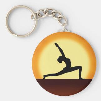 Yoga Pose Silhouette Sunrise Basic Round Key Rings Basic Round Button Keychain