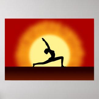 Yoga Pose Silhouette Sunrise Landscape Art Prints