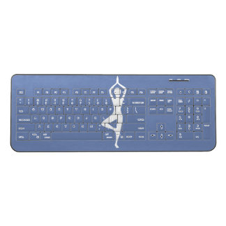 Yoga Pose Silhouette Wireless Keyboard