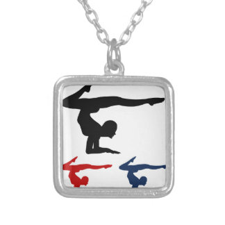 Yoga pose square pendant necklace