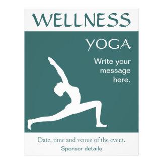Yoga Pose White Silhouette Aqua Blue Teal Flyers