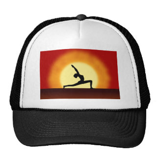 Yoga Pose Woman Posing Silhouette Sunrise Hat Trucker Hat