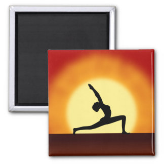 Yoga Pose Woman Silhouette Sunrise Fridge Magnets