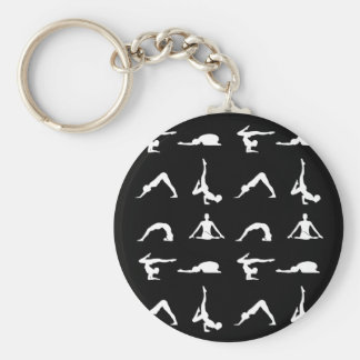 Yoga poses basic round button keychain