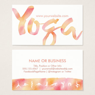 YOGA Poses Pink Lemonade Watercolor Business Cards