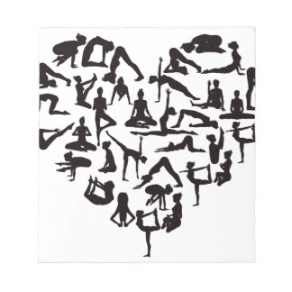 Yoga Poses Silhouettes Heart Notepads