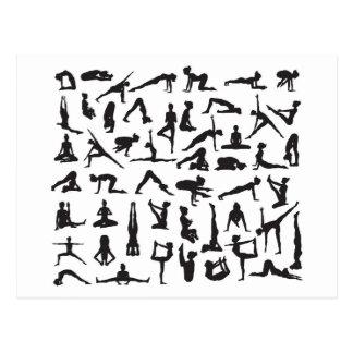 Yoga Poses Silhouettes Postcard