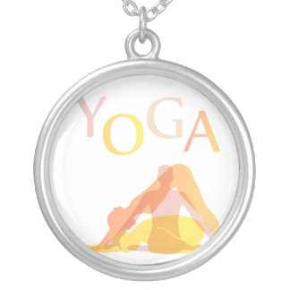 Yoga poses silver plated necklace