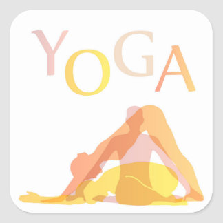 Yoga poses square sticker