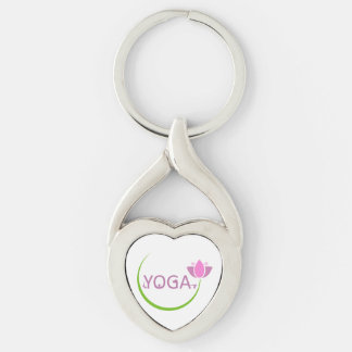 YOGA poses with a pink lotus Keychain