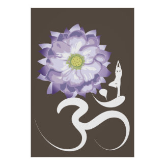 Yoga & Purple Lotus Flower White Om Symbol Poster
