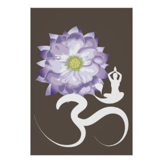 Yoga & Purple Lotus Flower White Om Symbol Poster