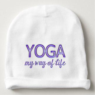 Yoga Purple Text Shiny Metallic Look Typography Baby Beanie