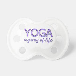 Yoga Purple Text Shiny Metallic Look Typography Baby Pacifiers