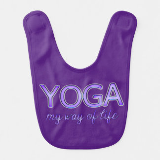 Yoga Purple Text Shiny Metallic Look Typography Bib