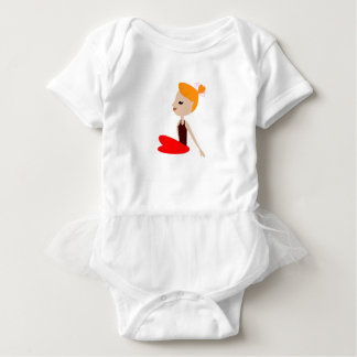 Yoga  red woman on white baby bodysuit