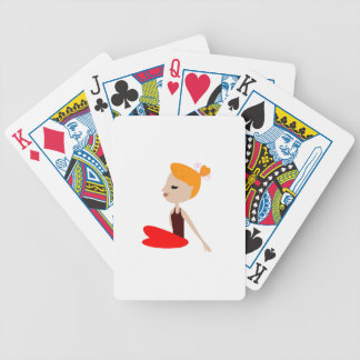 Yoga  red woman on white bicycle playing cards