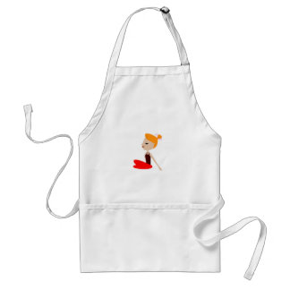 Yoga  red woman on white standard apron